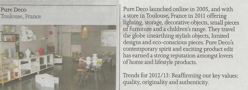 revue de presse 2012 le blog d co de pure deco. Black Bedroom Furniture Sets. Home Design Ideas